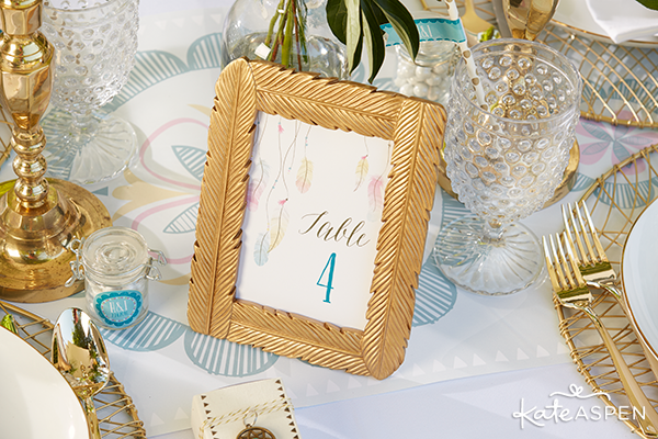 Gold Feather Table Number | Kate Aspen