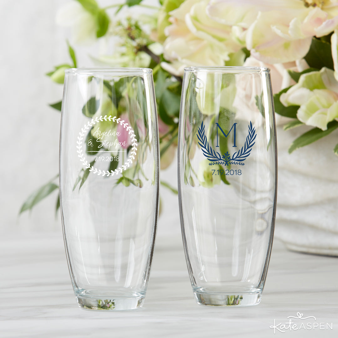 Botanical Stemless Champagne Flutes | 6 Budding Additions to Your Botanical Wedding | Kate Aspen