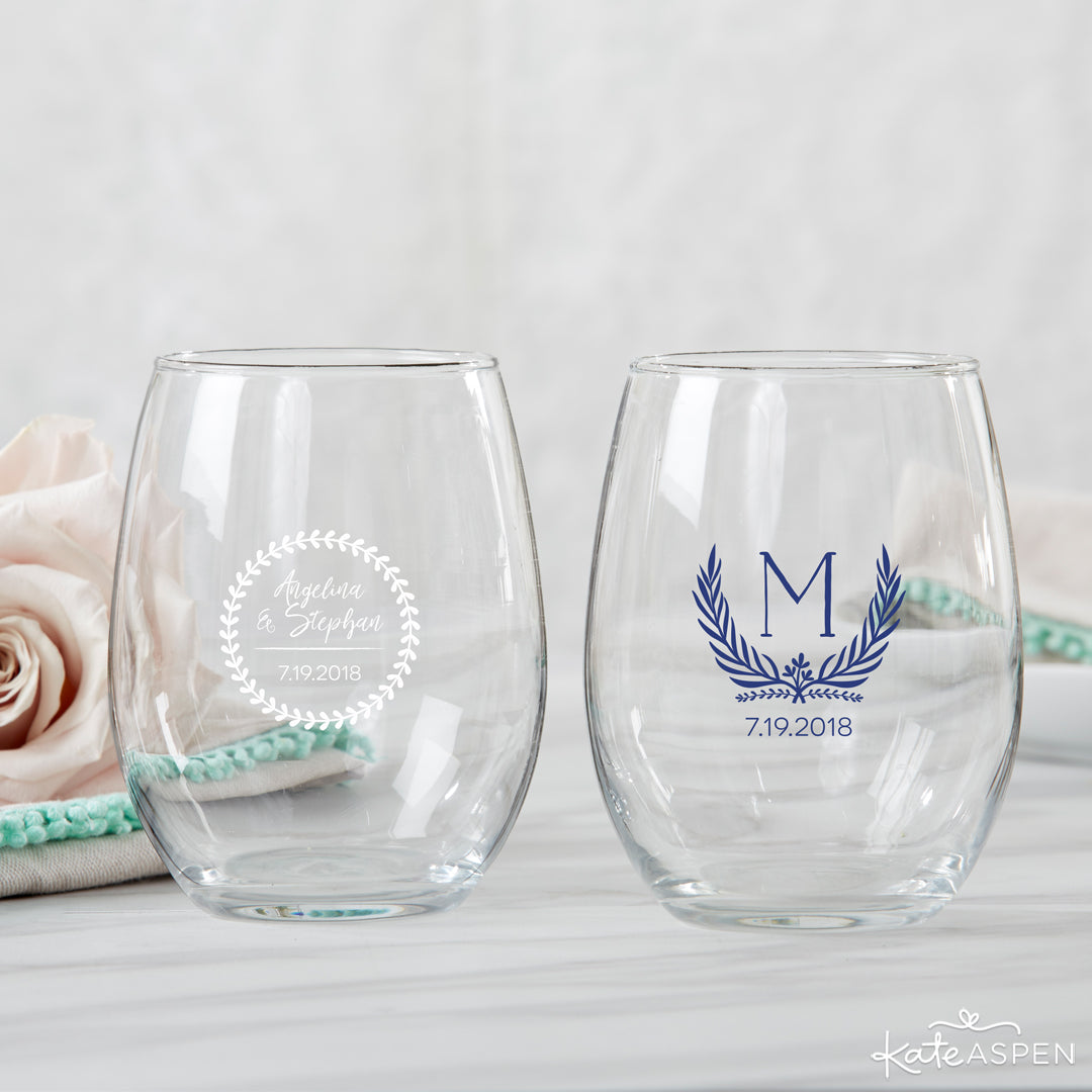 Botanical Stemless Wine Glasses | 6 Budding Additions to Your Botanical Wedding | Kate Aspen