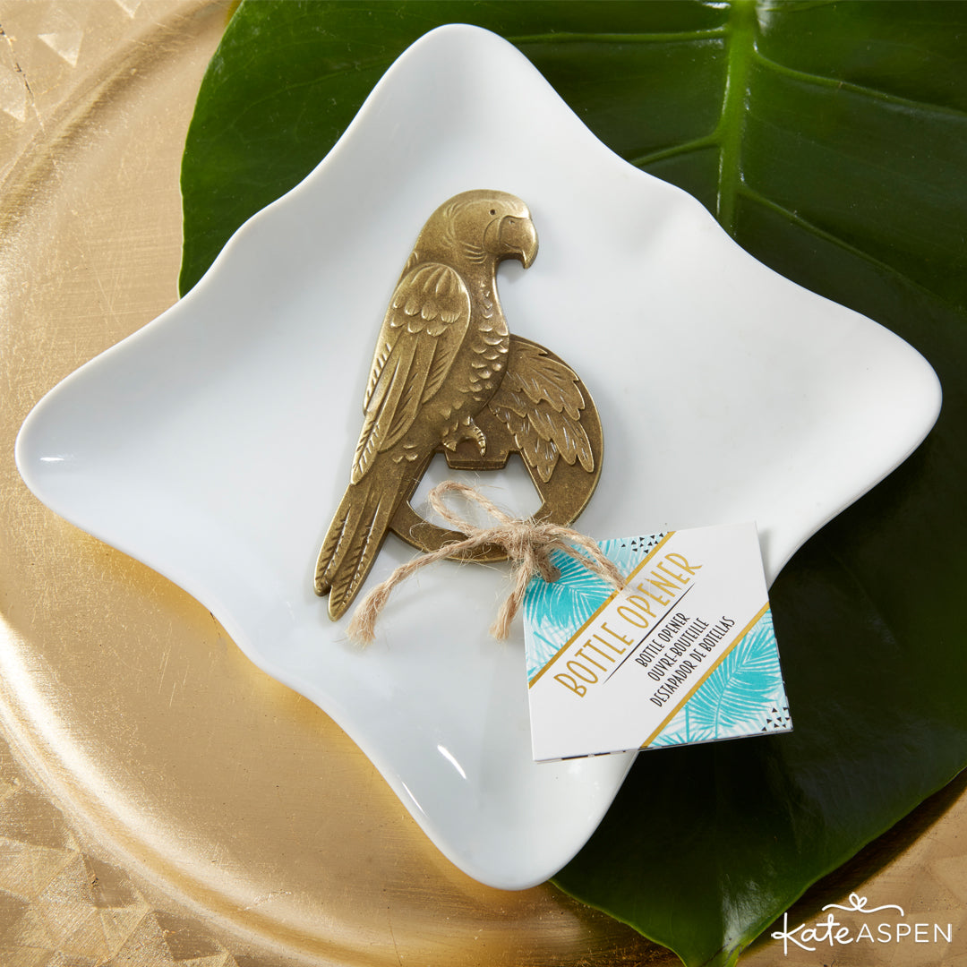 Antique Gold Parrot Bottle Opener | 7 Chic Favors for a Tropical Wedding | Kate Aspen