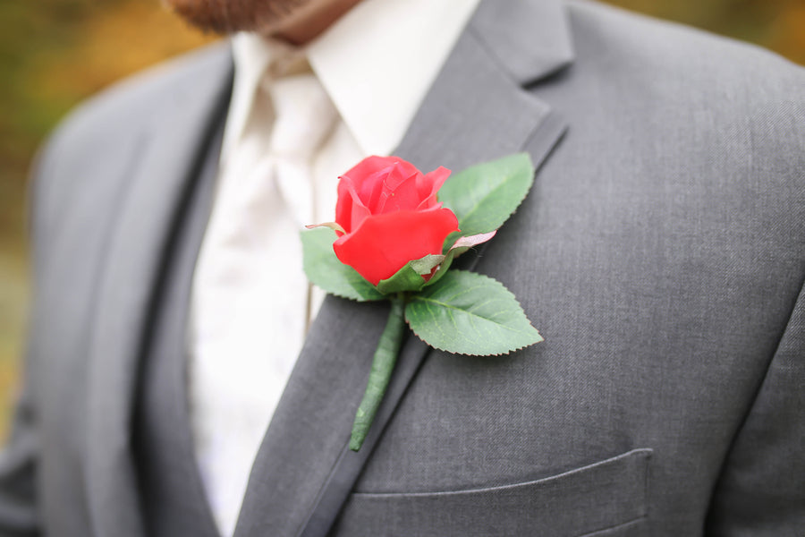 Boutonniere | Vibrant Red Accents In A Stunning Fall Wedding | Wild and Wonderful Photography | Kate Aspen