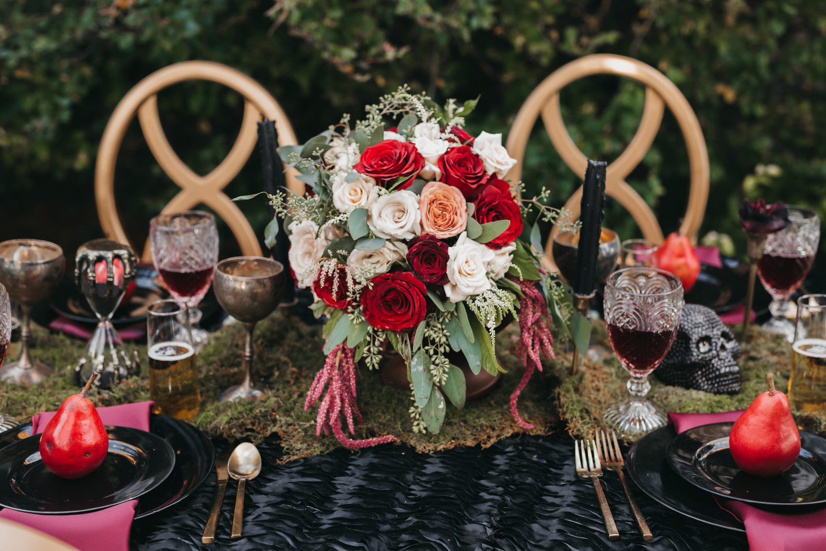 Wedding Table Center Piece | A Vintage Gothic Halloween Wedding | Kate Aspen