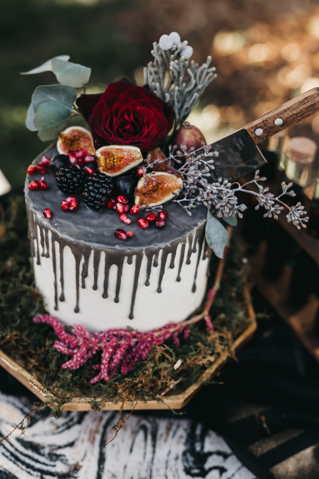 Wedding Cake |  A Vintage Gothic Halloween Wedding | Kate Aspen
