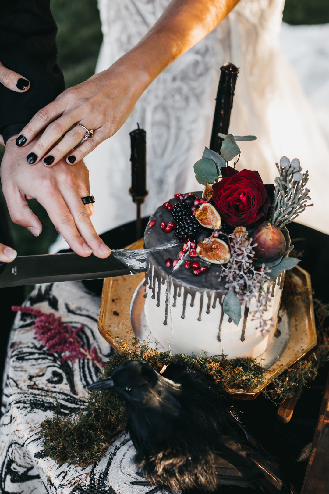 Bride And Groom Cutting Cake | A Vintage Gothic Halloween Wedding | Kate Aspen