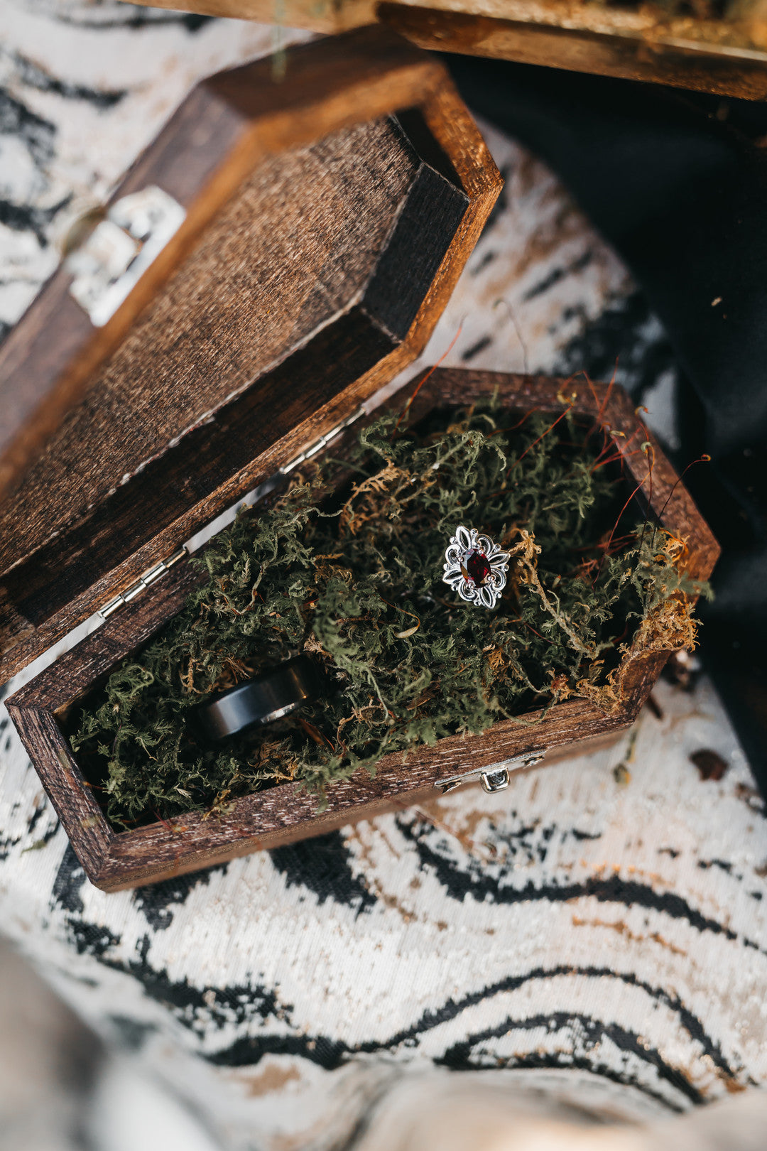 Bride And Groom Ring Coffin Box | A Vintage Gothic Halloween Wedding | Kate Aspen