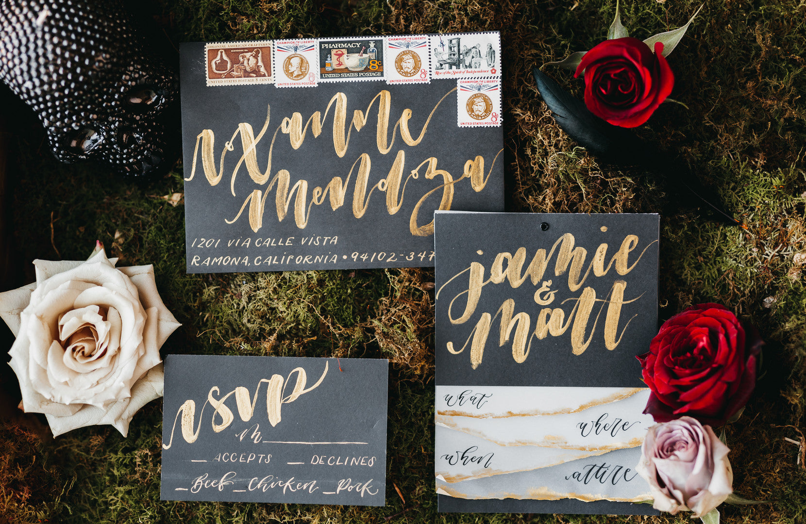 RSVP Wedding Cards | A Vintage Gothic Halloween Wedding | Kate Aspen