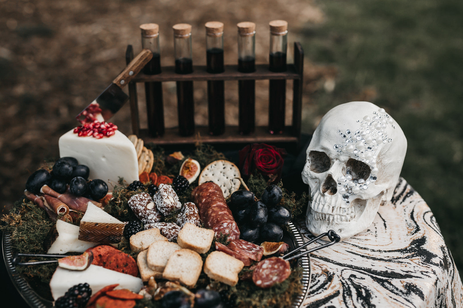 Wedding Cheese Platter And Wine Test Tube| A Vintage Gothic Halloween Wedding | Kate Aspen