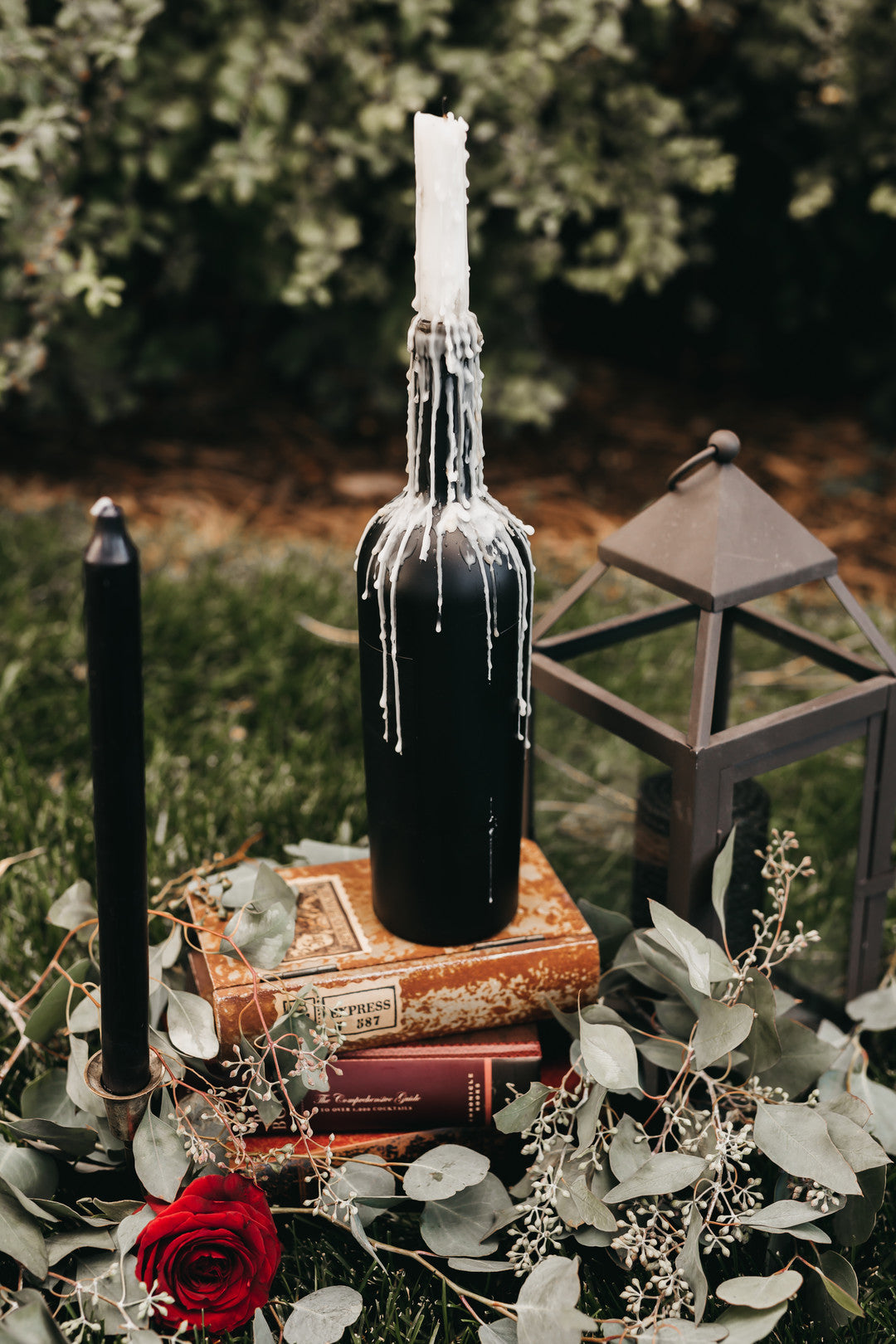 Candle And Wine Bottle Decor | Halloween Wedding | Kate Aspen