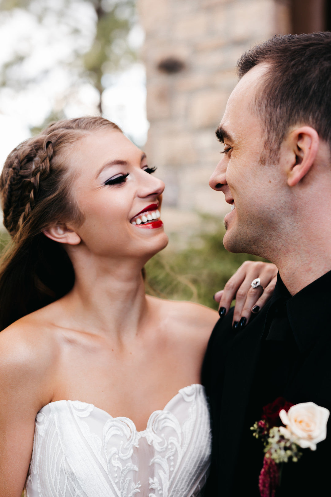 Bride And Groom Smiling | A Vintage Gothic Halloween Wedding | Kate Aspen