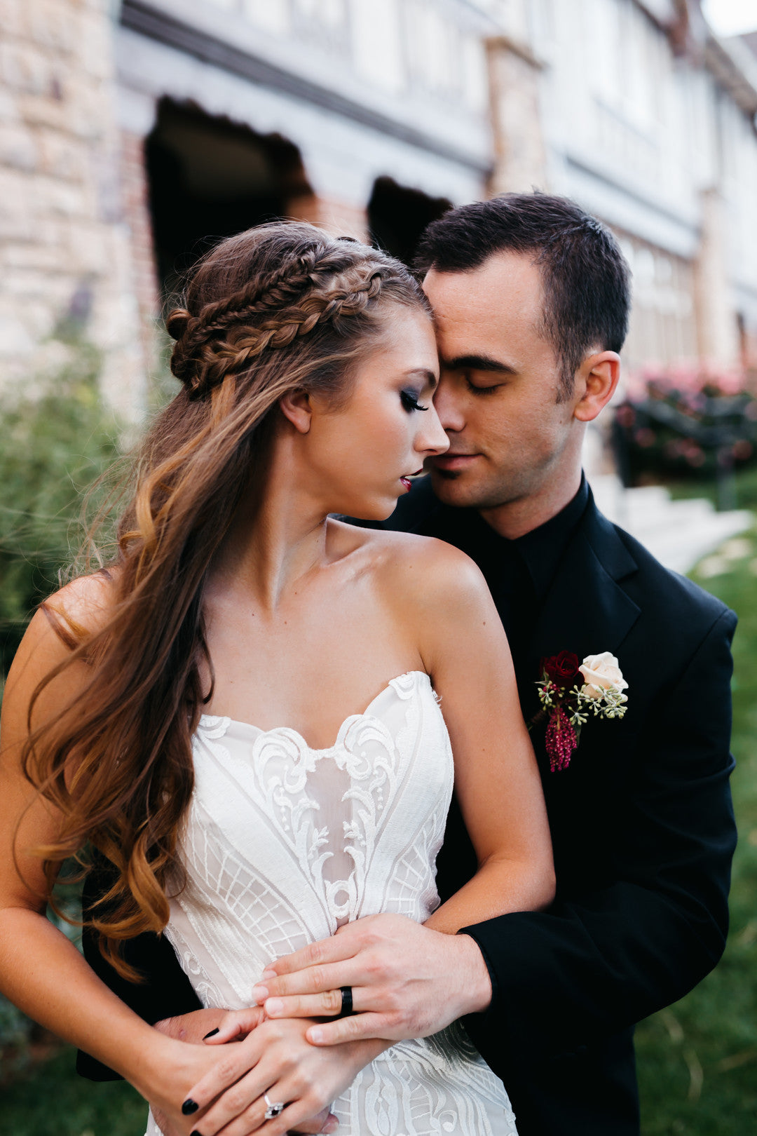 Bride And Groom Embracing | A Vintage Gothic Halloween Wedding | Kate Aspen