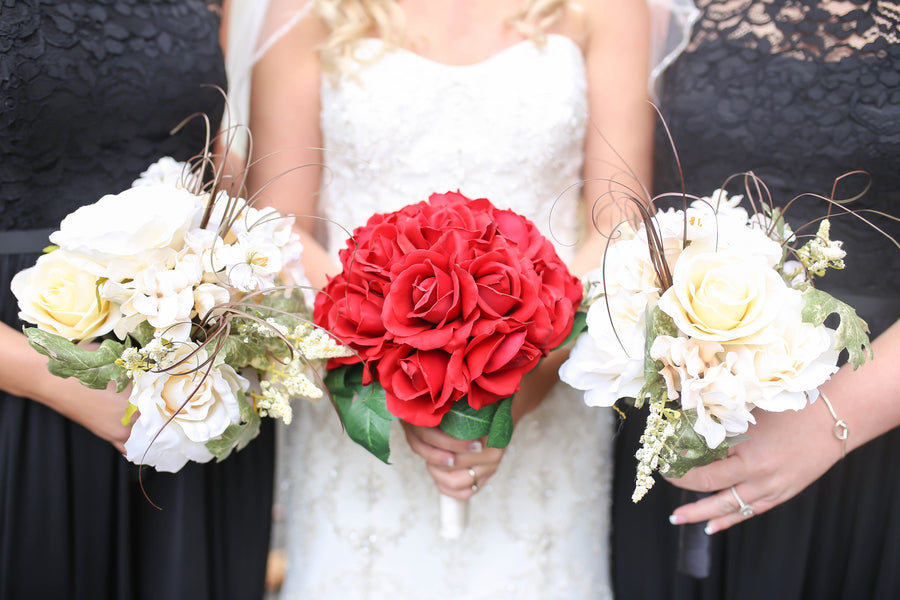 Bridal Bouquets  | Vibrant Red Accents In A Stunning Fall Wedding | Wild and Wonderful Photography | Kate Aspen