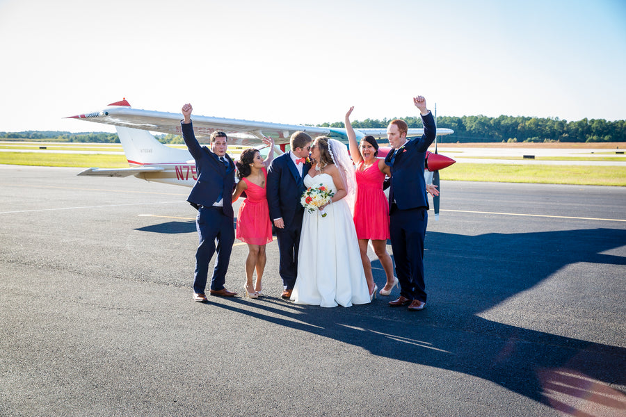 Bridal Party | Aviation Themed Wedding | Red Bridge Photography