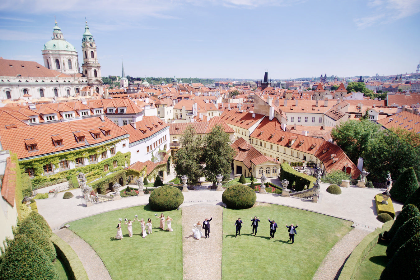 Bridal Party With Prague in Background | Summer Wedding in Prague | Photography: Stepan Vrzala