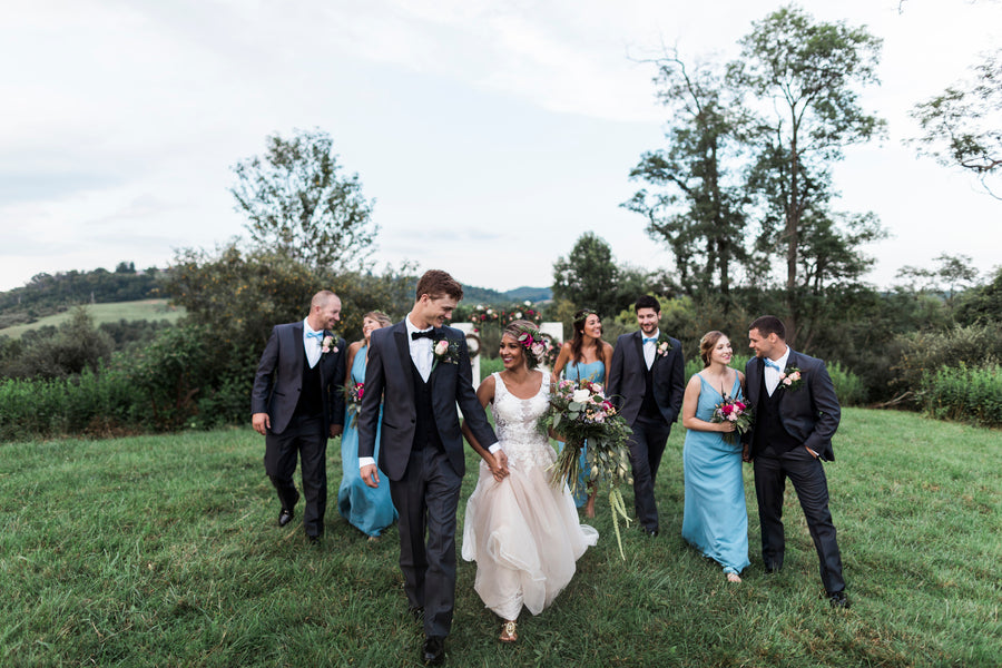 Bridal Party Walking | Details For The Perfect Floral Wedding | Kate Aspen