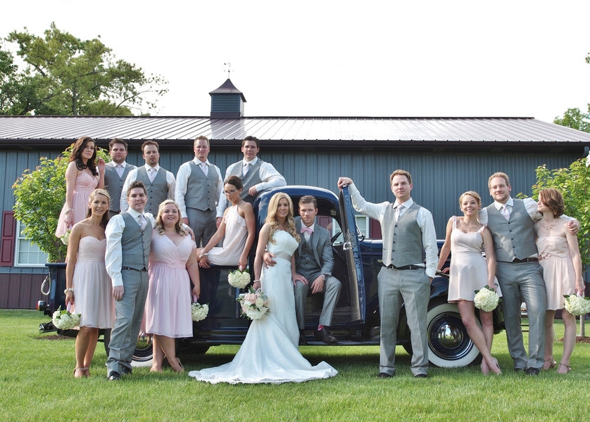 Bridal Party Pose in Front of Vintage Truck | Laura Dee Photography