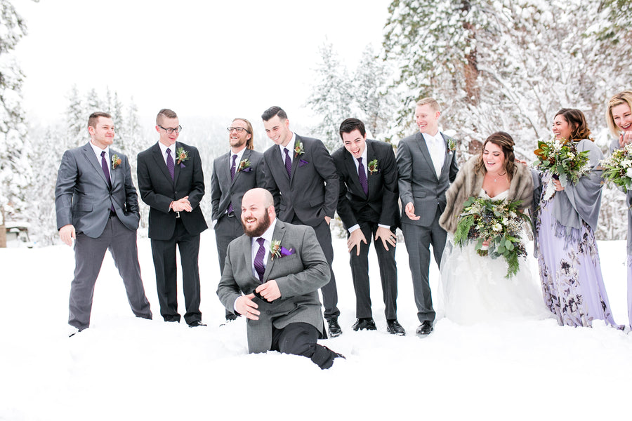Bridal Party In the Snow | A Cozy Lake Tahoe Wedding | Kate Aspen