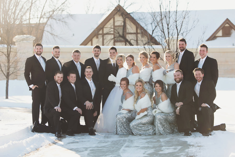 Bridal Party in the Snow | A Sparking Winter Wedding | Dana Widman Photography | Kate Aspen