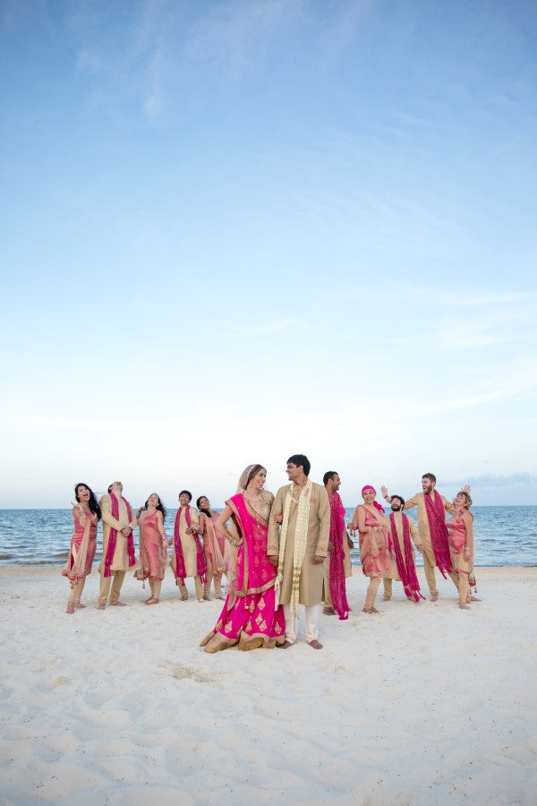 Bridal Party on the Beach | Fusion Indian Wedding | Adrienne Fletcher Photography