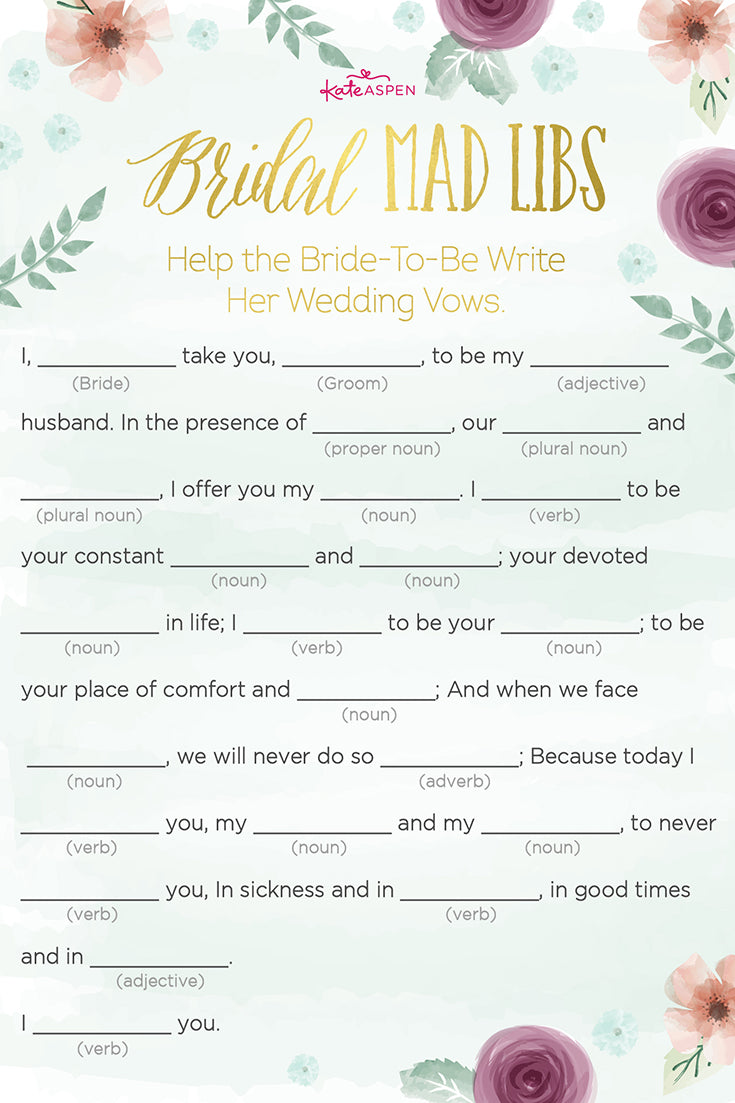 Bridal Mad Libs | Bridal Shower Games | Kate Aspen
