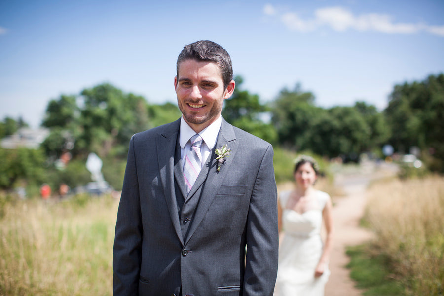 Bride Approaches Groom | First Look | Colorado Wedding  | Katie Keighin Photography
