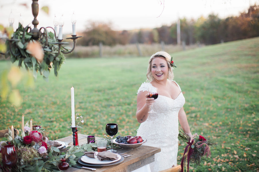 Bride Drinking Wine | Wine Inspired Fall Wedding | Brooke Ellen Photography
