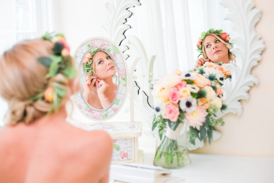 Bride Getting Ready | A Flowery Fall Wedding | Kate Aspen