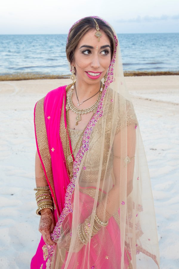 Bride in Pink and Gold Lehenga | Indian Fusion Wedding | Adrienne Fletcher Photography
