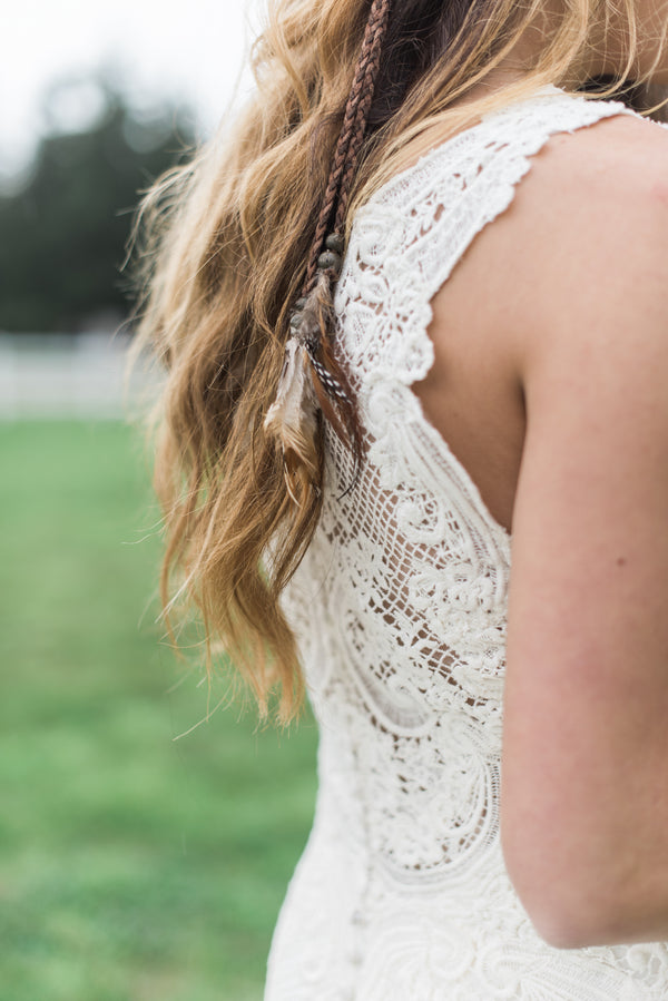 Bride's Lace Wedding Dress Detail | Boho Wedding Inspiration | B. Jones Photography