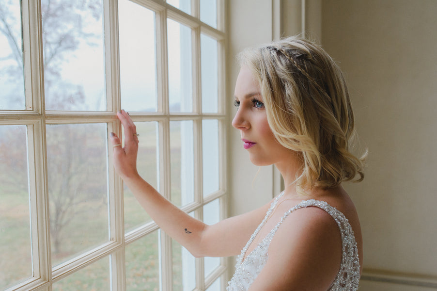 Bride Looking Out Window | 1920s Inspired Wedding | Priscilla Thomas Photography