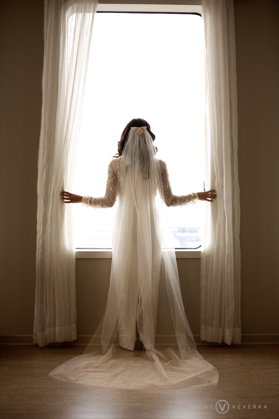 Bride in Window | Glam Speakeasy Wedding | Brent Veverka Media