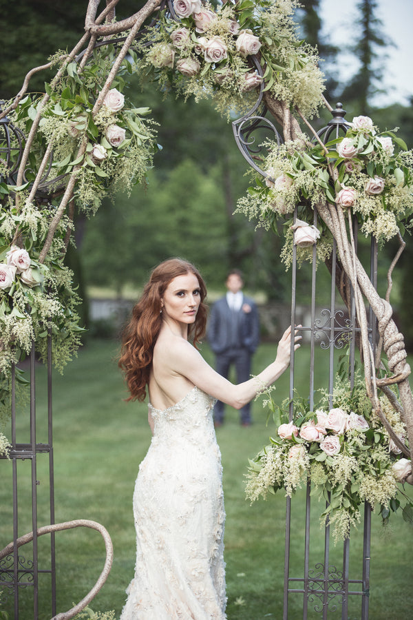 Bride Under Floral Arch | Garden Wedding Ideas | Jaylim Studio |Kate Aspen