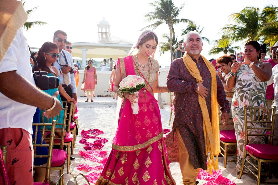 Bride Walking Down the Aisle |  Indian Fusion Wedding | Adrienne Fletcher Photography