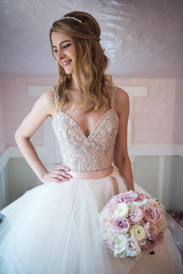 Bride With Bouquet | A Beautiful Blush Wedding | Kate Aspen