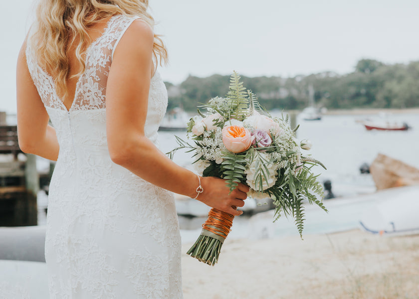 Bride With Bouquet | A New England Nautical Wedding | Kate Aspen
