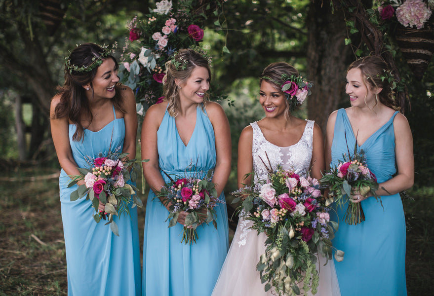 Bride With Bridesmaids | Details For The Perfect Floral Wedding | Kate Aspen