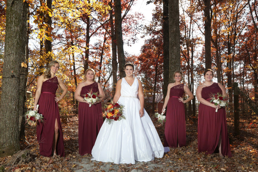 Bride With Bridesmaids | ImpressionsPhotography | A Flannel Filled Fall Wedding | Kate Aspen