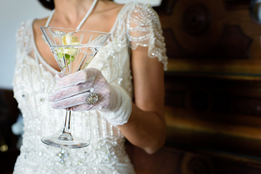 Bride With Drink | Vintage Details for a Downton Abbey Inspired Wedding | HRM Photography