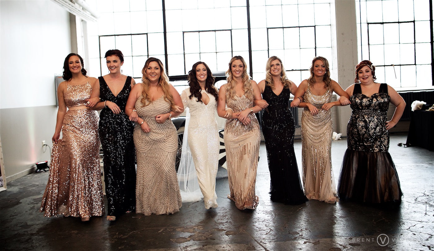 Bride with Bridesmaids |  Glam Speakeasy Wedding | Brent Veverka Media