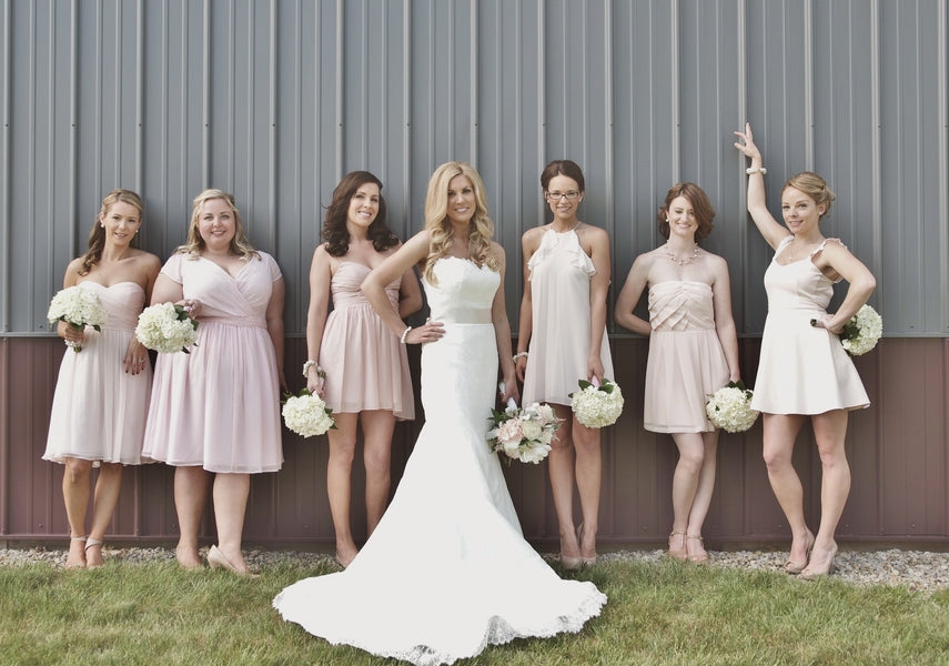Bride and Bridesmaids in Pink | Laura Dee Photography