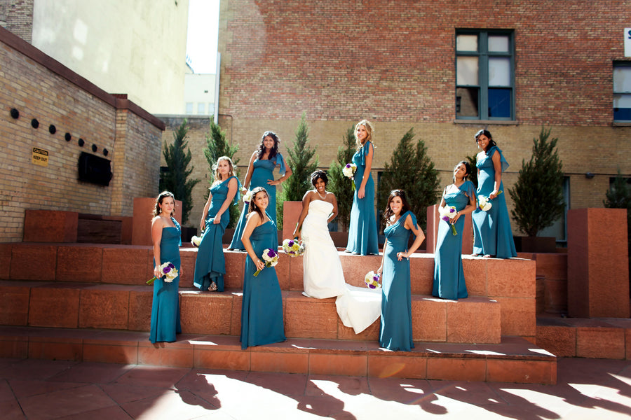 Bride and Bridesmaids in Blue Dresses | Pepper Nix Photography