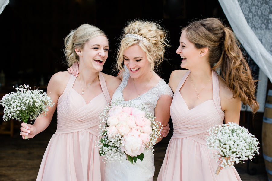 Bride and Bridesmaids in Pink | Spring Rustic Barn Wedding | Time Into Pixels Photography