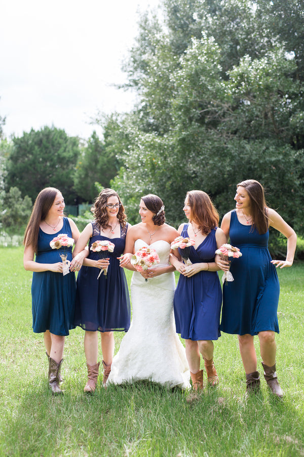 Bride with Bridesmaids in Navy | Whimsical Rustic Barn Wedding | McKenzie Stewart Weddings