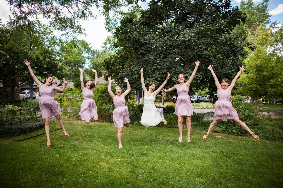 Bride and Bridesmaids in Pink Jumping| Colorado Wedding | Katie Keighin Photography