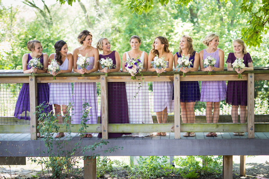 Bride with Bridesmaids in Purple | Purple Industrial Themed Wedding | Asteria Photography