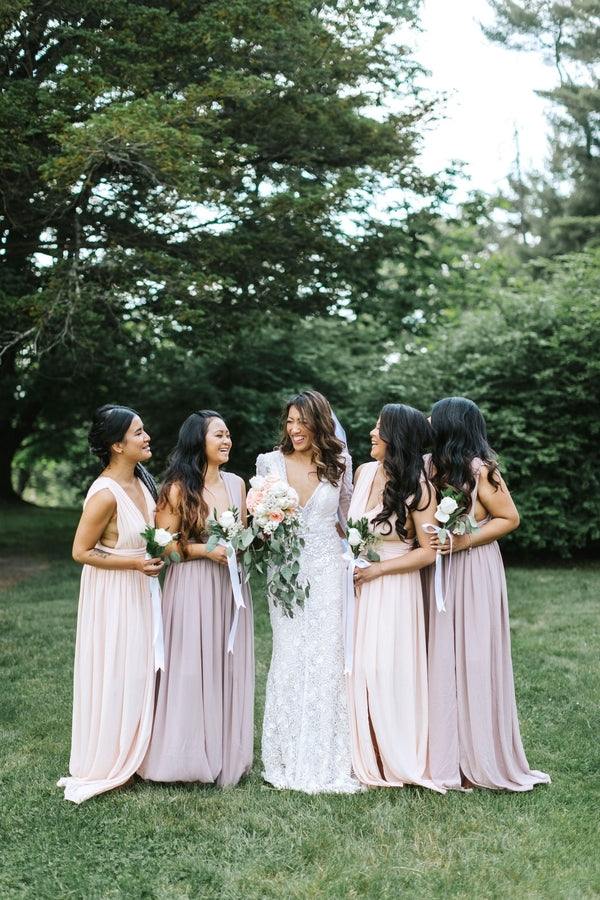 Bride and Bridesmaids | A Dazzling Doughnut Wedding | Kate Aspen