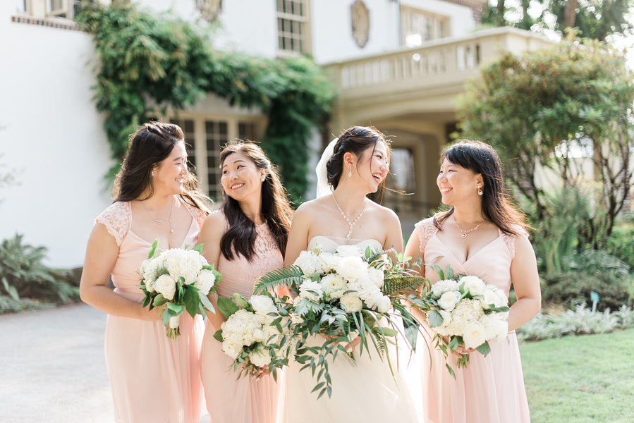 Bride and Bridesmaids | A Simple & Sweet Garden Wedding | Kate Aspen