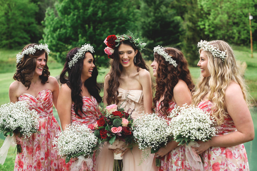 Bride and Bridesmaids | Jasmine White Photography | A Fashion-Forward Floral Wedding