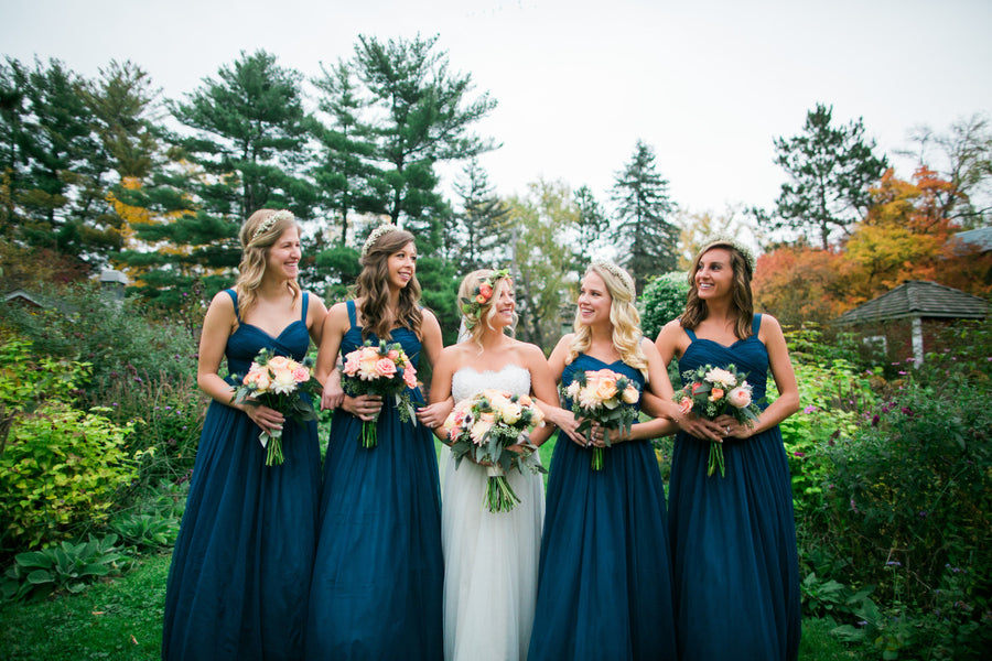 Bride and Bridesmaids | A Flowery Fall Wedding | Kate Aspen