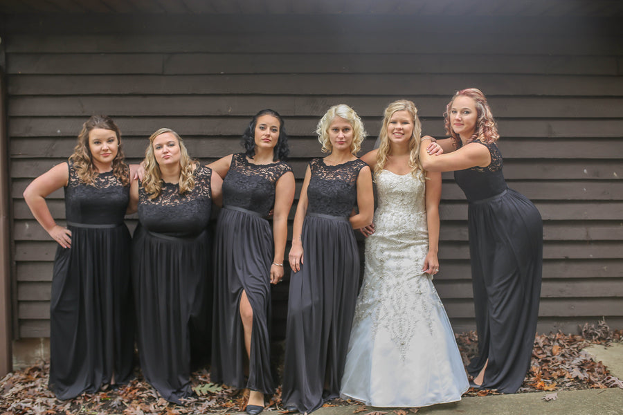 Bride and Bridesmaids | Vibrant Red Accents In A Stunning Fall Wedding | Wild and Wonderful Photography | Kate Aspen