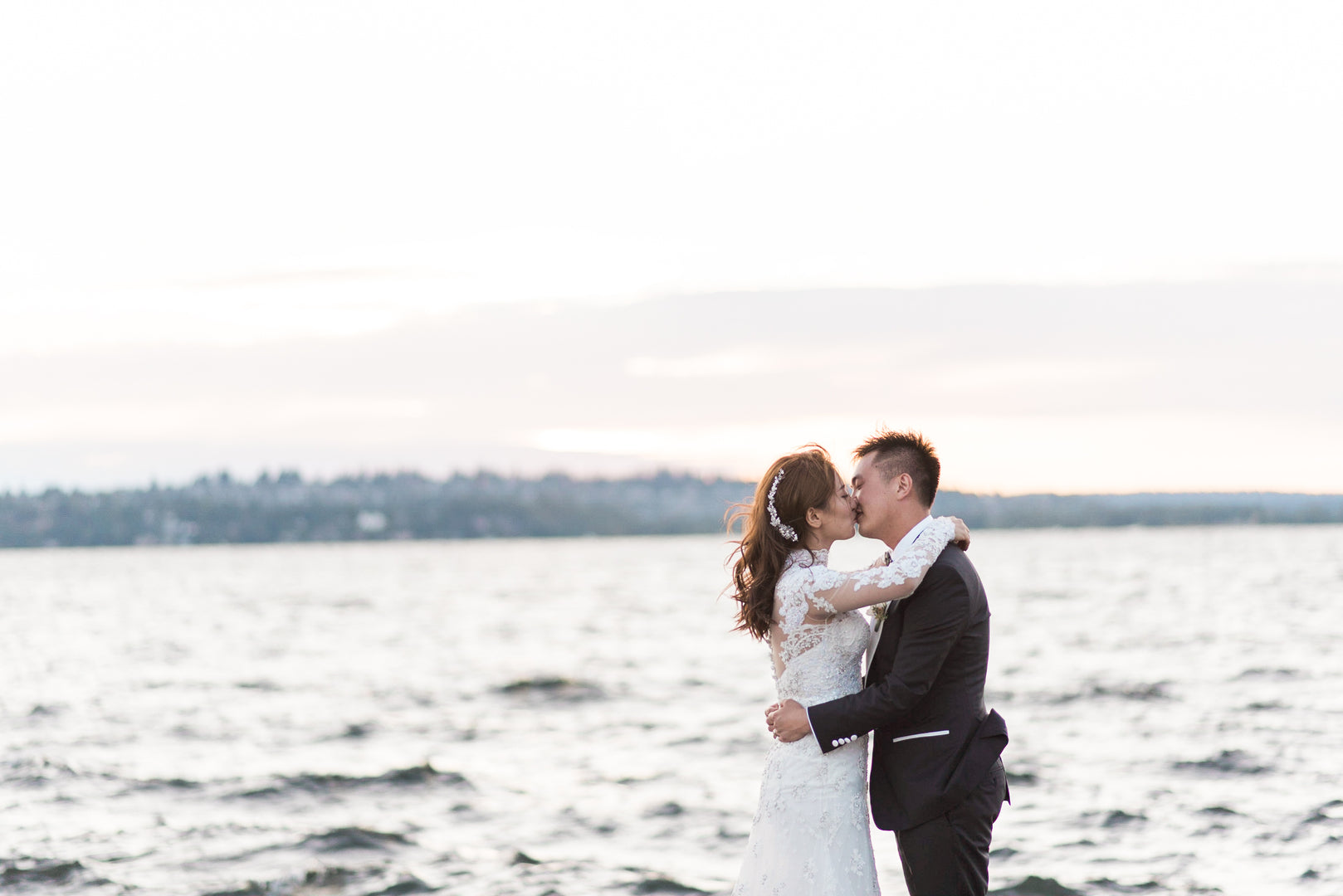 Bride and Groom At Sunset | A Grand Wedding On The Water | Kate Aspen